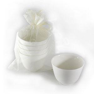 Bana White Porcelain Tea Cups (set of 4)